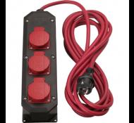 Kelfort verdeeldoos nylon 3x2.5 met 3 stopcontacten 10m